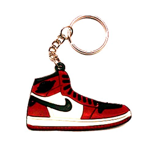 new style 1cc8b d7c49 Air Jordan I 1 Black White Red Chicago Bulls Sneakers Shoes Keychain Keyring  AJ