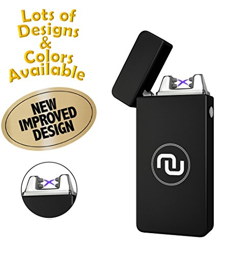 Novelty Wares - USB Flameless Plasma Dual Arc Rechargeable Windproof Cigarette Lighter with Charging Cable and Gift Box (Matte Black)