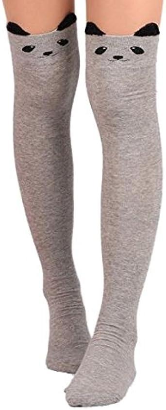DODOYA Chaussettes Hautes pour Femmes Bas de Cuisse de Compression antid/érapant Jambi/ères Longues en Coton