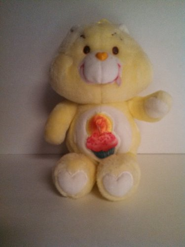 Vintage Care Bears Birthday Bear 1983 Yellow w Cupcake Plush (Vintage Kenner Care Bears)