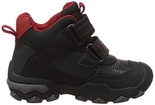 Geox Jungen J BULLER Boy B ABX E Hohe Sneaker, Schwarz (Black/Dk Red C0260), 24 EU 6