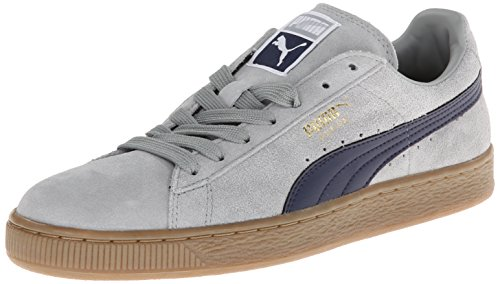 (PUMA Suede Classic Leather Formstrip Sneaker,Limestone Gray/Peacoat,9.5 M US)