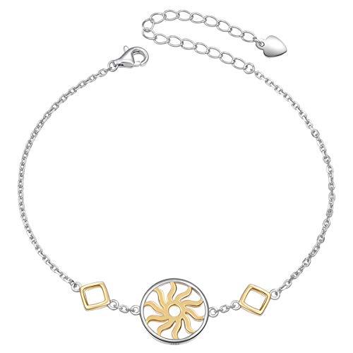 S925 Sterling Silver Two Tone Sun Charm Adjustable Bracelet for Women Girls Birthday Gift