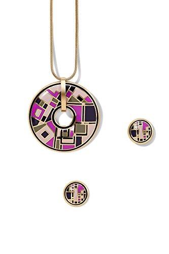 enamel-pendant-necklace-earring-set-snake-chain-circle-dolphin-charm-round-studs-light-pink-black-gr