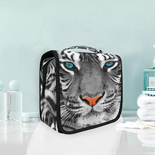 Makeup Bag Animal Tiger Blue Eyes Cosmetic Portable Travel Hanging Toiletry Bag -