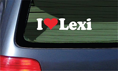 I Love Lexi Vinyl Decal - White With A Red Heart Sticker - Lexi Heart