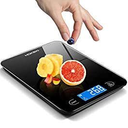 Food Scale, HOKEKI Digital Kitchen Scale Electronic Scale Weight Grams and Ounces with LCD Display & Waterproof Glass…