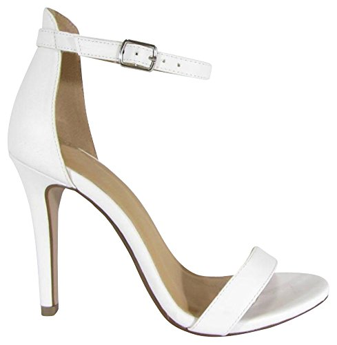 Cambridge Select Womens Open Toe Single Band Buckle Thin Ankle Strappy Stiletto High Heel Dress Sandal White Pu wiLQk3