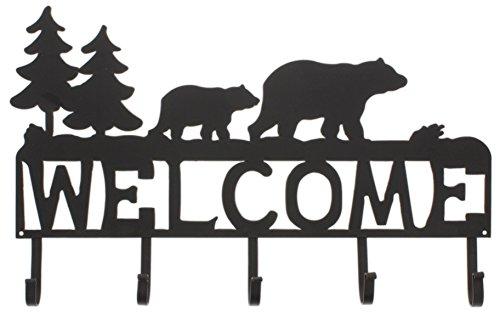 Distinctive Designs 5 Hook Coat Hanger Welcome Sign Metal Black Bear Design (Bear Coat Hanger)