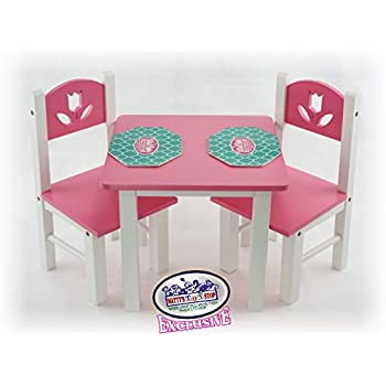 Mattyu0027s Toy Stop 18 Inch Doll Furniture Pink/White Wooden Table And Chairs  Set With