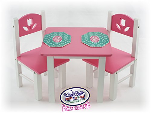Matty's Toy Stop 18 Inch Doll Furniture Pink/White Wooden Table and Chairs Set with Placemats (Floral Design) - Fits American Girl Dolls ()