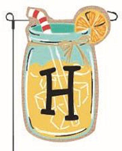 Home Garden Flags Monogram Lemonade Mason Jar Burlap Summer
