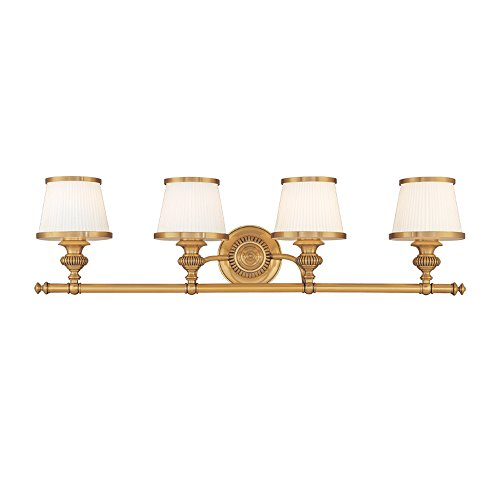 Hudson Valley Lighting 2004-FB Four Light Bath Bracket from the Milton collection 4, Flemish Brass