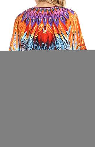 Sakkas Collo V Camicia A Lacci Nappi Diamanti Top Ampia Turchese Circolare Sintetici Arancione Con Tallulah E rpwIxFqYnr