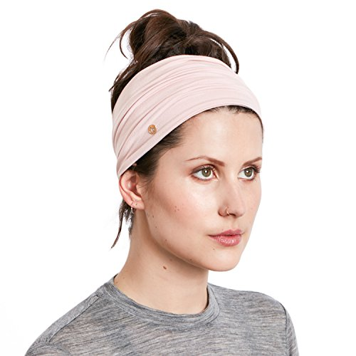 Multi Head Scarf (BLOM Multi Style Headband for Sports or Fashion, Yoga or Travel. Happy Head Guarantee - Super Comfortable. Designer Style & Quality (Pink Nude))