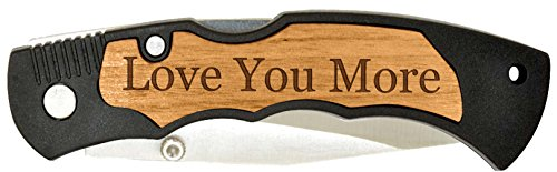 Boyfriend or Husband Gift Love You More Laser Engraved Stainless Steel Folding Pocket Knife (Knife Steel Engraved Stainless Lockback)