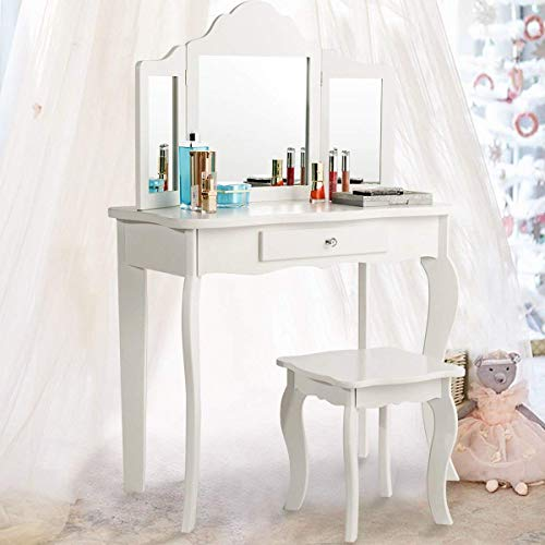 (Costzon Kids Wooden Vanity Table & Stool Set, Princess Makeup Dressing Table with Two 180° Folding Mirror, White (41.5