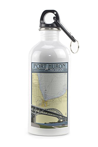 Port Huron  Michigan   Nautical Chart  20Oz Stainless Steel Water Bottle W  Carabiner