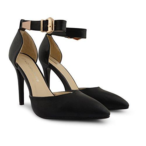 Nuevas señoras tacón señaló Toe Correa De Tobillo Sandalias Zapatos de corte para mujer fiesta noche verano hebilla negro PU