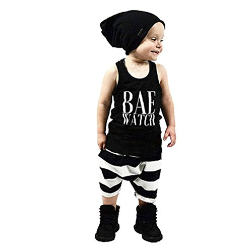 IEason 2pcs Toddler Baby Kids Boy T-Shirt Top+Stripe Shorts Pants Outfits Clothing Set 4T(3-4Years), Black