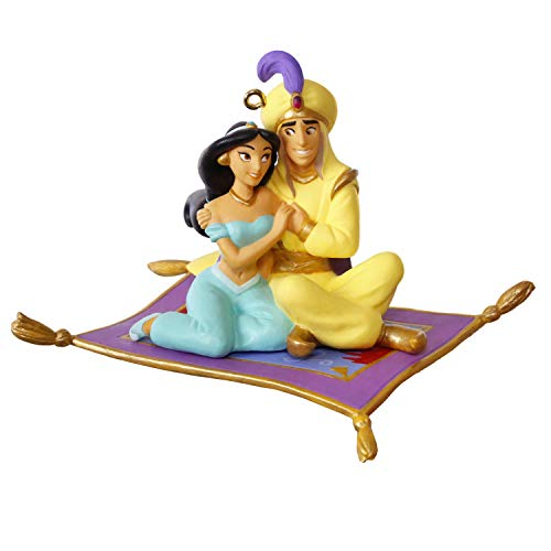 Hallmark Keepsake Christmas Ornament 2019 Year Dated Disney Aladdin and Jasmine A Whole New World, Porcelain