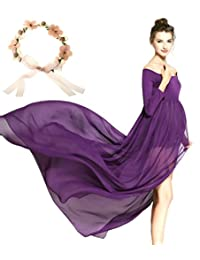 Sannyway Maternity Photography Dress Split Front Off Shoulder Photoshoot Maxi Gown