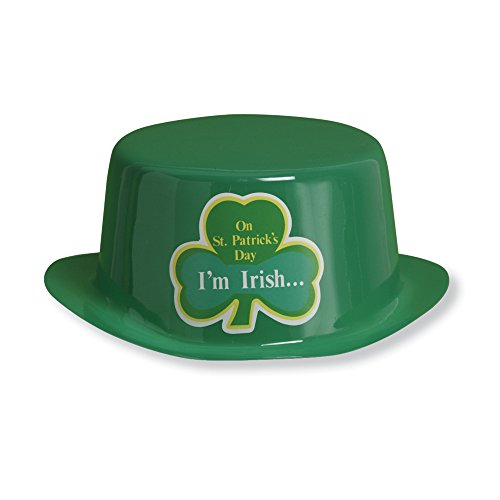 Creative Converting St. Patrick's Day Plastic Derby Hat with Sticker, Green
