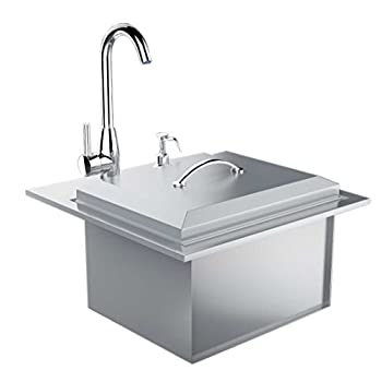 Image of Commercial Sinks SUNSTONE B-PS21 Commercial Sink with Lid and Cutting Board, 21-Inch