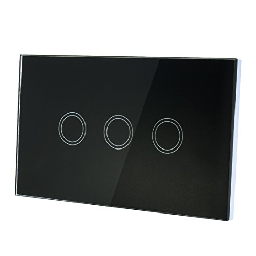 uxcell Touch Wall Light Switch, Luxury Crystal Glass Panel, AC 110-240V 1 Way 3 Gang Smart Touch Switch Black US