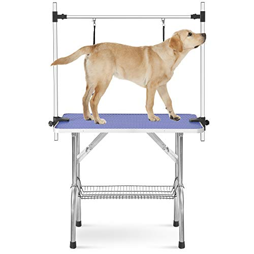 P PURLOVE Grooming Table Stainless Steel Foldable Adjustable Height Cat Dog Pet Grooming Stand with Mesh Tray Maximum Capacity Up to 300Lbs
