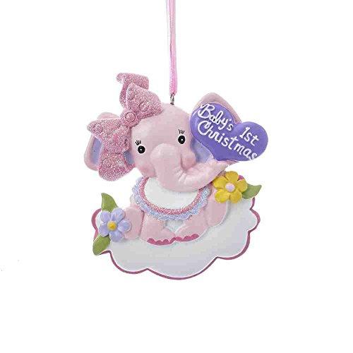 """Kurt Adler 3.75"""" BABYS 1ST ELEPHANT GIRL ORNAMENT"""