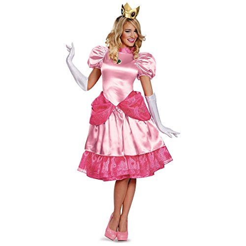 Princess Peach Deluxe Adult Costumes (Princess Peach Deluxe Costume - Large - Dress Size 12-14)