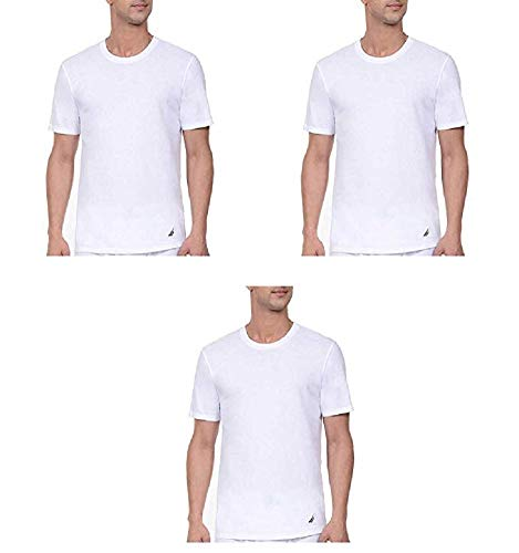 (Nautica T-Shirt, Tagless, Crew Neck, Stretch, Super Soft Cotton, Classic Fit, With Logo 3 Pair (White 3 Pair,)