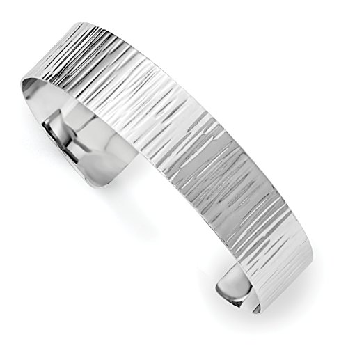 ICE CARATS 925 Sterling Silver Textured Cuff Bangle Bracelet Expandable Stackable For Women by ICE CARATS
