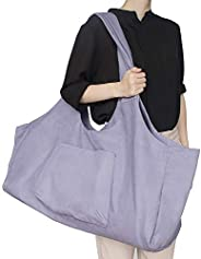 LiiZee Large Yoga Mat Bag Multi-Purpose Gym Bag Yoga Mat Tote Sling Carrier with Side Pocket Fits Most Size Ma