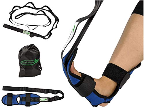 Lumia Wellness Foot Stretcher & Multi-Loop Nylon Strap Bundle - for Plantar Fasciitis, Achilles Tendon, Hamstrings - Exercise Guide & Carrying Bag Included