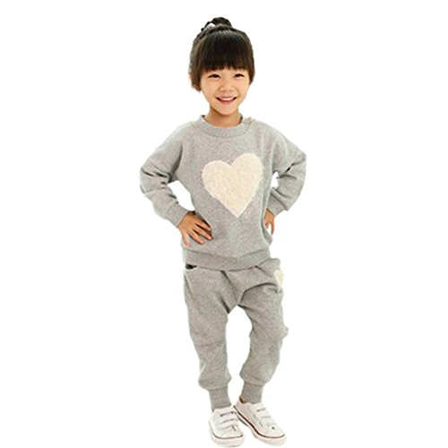 Urparcel Girls Hoodie Sweatshirts Long Sleeve Tops Pants Heart Outfits Homewear