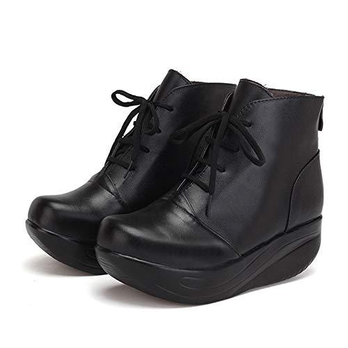 Pingxiannv Mujer Cuero De Plataforma Invierno Zapatos Cuñas Botas Cordones Con Cálidas Cremallera Cortas Oscilantes Negras pqarpx