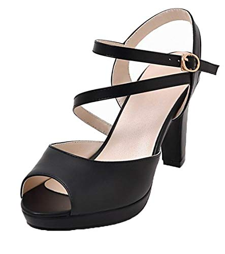 VogueZone009 Women Pu Buckle Open-Toe High-Heels Solid Sandals, CCALP015387 Black