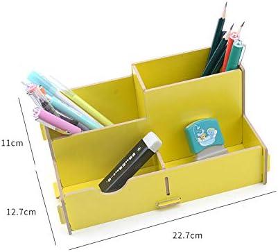 Multifunktionale Kinder Studenten Holz Spleißstifthalter Desktop Büro Aufbewahrungsrahmen Finishing Rack-4 Gitter gelb