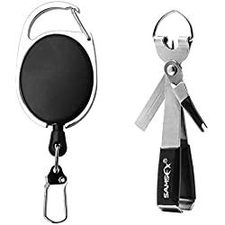 SAMSFX Fishing Quick Knot Tying Tool 4 in 1 Fly Line Clippers with Zinger Retractor Combo (Silver)