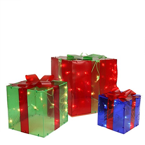 Set of 3 Christmas Lighted Gift Boxes for Indoor/Outdoor Use