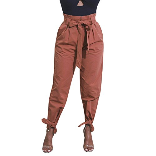 Women Cintura Giovane Waist Elegante Grazioso Harem Orangerot Pantaloni High Pantaloni Pantaloni Lunga Tempo Estivi Libero Inclusa Donna Anaisy Pantaloni Baggy Monocromo xnBq8H8f