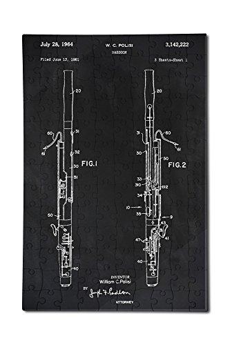 Blackboard Patent - Bassoon (12x18 Premium Acrylic Puzzle, 130 Pieces)