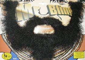 [Beard & Moustache: Mr. Bling (Black) For Fancy Dress Costumes Outfits Accessory] (Mr Gum Costume)