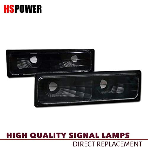 HS Power Black Clear Bumper Lights Fit 1988-2000 for Chevy GMC C10 C/K Truck/SUV Signal Parking Lamps YD