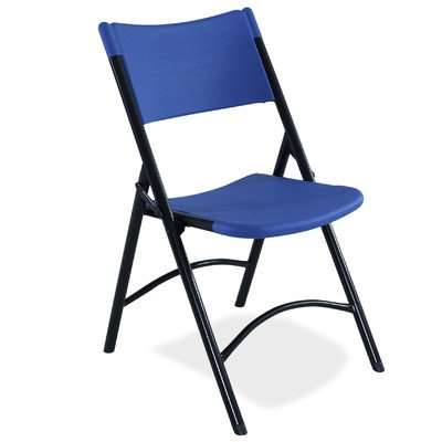 National Public Seating 600 Series Steel Frame Blow Molded Resin Plastic Seat and Back Folding Chair with Double Brace, 300 lbs Capacity, Blue/Black (Carton of 4)