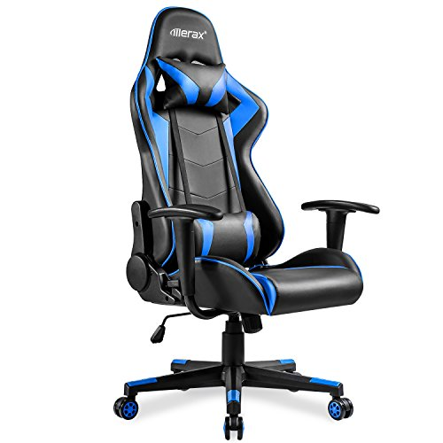 Merax High-Back Gaming Chair Ergonomic Design Office Chair Racing Style Computer Chair (Black and Blue) by Merax