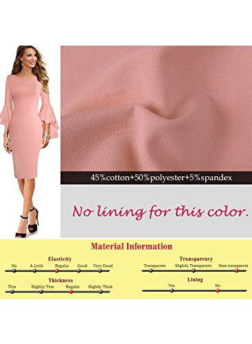 Womens Dress VFSHOW Bell Party Sheath Pink Sleeves Business Ruffle Cocktail fBFxq4Bp