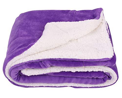 SOCHOW Sherpa Fleece Throw Blanket, Double-Sided Super Soft Luxurious Plush Blanket Twin Size, Purple (Purple Blanket Soft)